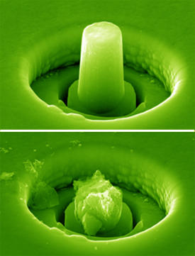 A micropillar carved from nanocrystalline boron carbide ceramic deforms plastically instead of fracturing during compression, owing to a distribution of nanopores.