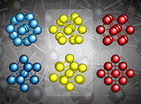 The assumed icosahedral local atomic structure of metallic glasses (left, blue), the face-centered cubic (fcc) structure of the corresponding metal crystal (right, red) and the actual distorted icosahedral arrangement of metallic glasses (center, yellow). The top and bottom rows show the same structures from a different angle.