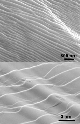 Fig. 1: Scanning electron microscopy images showing wavy nanometer- and micrometer-sized steps induced by a propagating crack during failure.