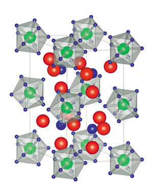 Metal atoms (green spheres: molybdenum, tungsten, niobium or tantalum) can draw nine hydrogen atoms (blue spheres) around themselves, forming crystalline compounds that contain potentially mobile lithium ions (red spheres).