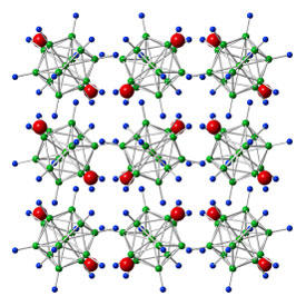 Dodecahydro-closo-dodecaborate (Li2B12H12) contains cage-like anions of boron (green spheres) and hydrogen (blue spheres), along with lithium ions (red spheres). Ball milling removed hydrogen and lithium, improving the lithium-ion conductivity significantly.