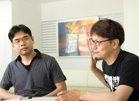 Akihiko Hirata (left) is an experimentalist who uses powerful analytical techniques to explore amorphous materials. He is very appreciative of the help from Takenobu Nakamura (right), a physicist who helps interpret mathematical terminology and concepts into physical ones and vice versa.